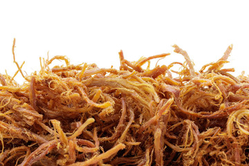 close up of crispy dried shredded pork on white background