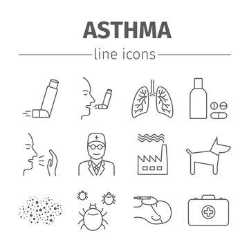 Asthma Symptoms and Symbols. Asthma line icons set.