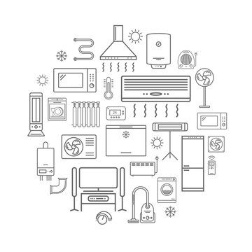 Household appliances line icons.
