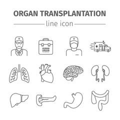 Organ transplantation line icons set.