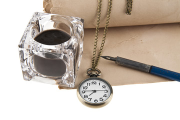 old paper, clock, inkwell and pen