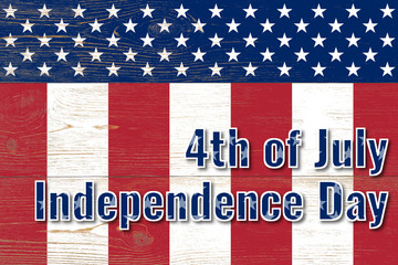 4th of july, united states independence day, paper text over wooden painted planks