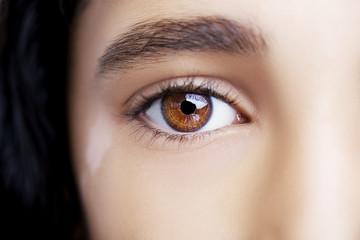 A beautiful insightful look eye with vitiligo. Close up shot