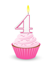 Pink Birthday Cupcake for 4th Birthday