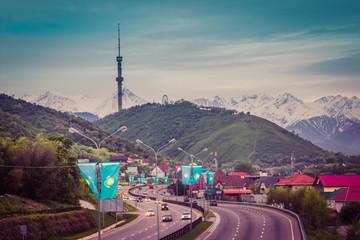 ALMATY, KAZAKHSTAN - MAY 6: Kok Tobe hill and TV tower. City view on May 6, 2017 in Almaty, Kazakhstan
