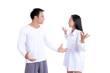 Issue couple concept on white background