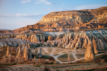 Colorful Rose valley in Cappadocia landscape at sunset