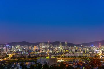 gangnam nightscape in mountain seoul korea