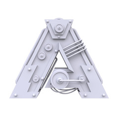 Iron mechanical letter isolated on white background. Futuristic industrial metal alphabet in sci fi or steampunk style. Realistic 3d render.