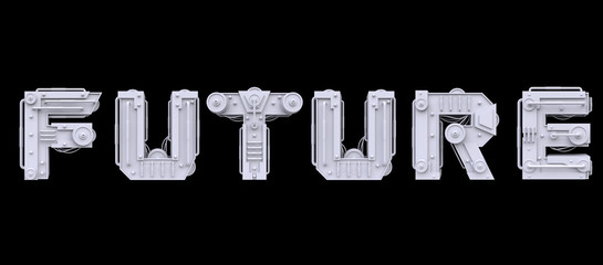 Iron mechanical word future isolated on black background. Futuristic industrial metal text in sci-fi or steampunk style. Realistic 3d render.