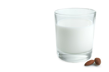 Glass of milk and almonds