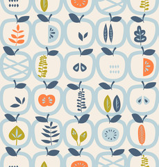 Custom blinds with your photo seamless pattern with apples and leaves