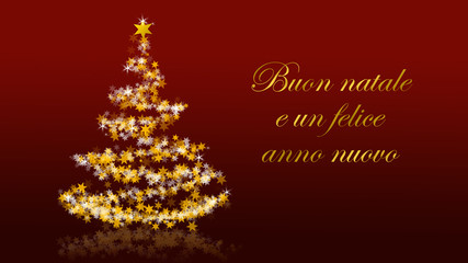 Christmas tree with glittering stars on red background, italian seasons greetings