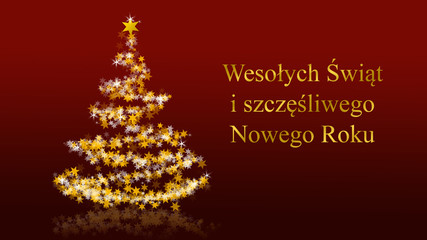 Christmas tree with glittering stars on red background, polish seasons greetings