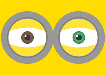 Vector illustration of goggle with two eyes on yellow color background. Vector illustration background design.