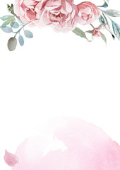 watercolor pink, rose peonies with gray grass on white background for greetings card
