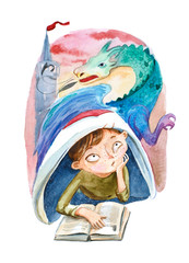 Watercolor illustration. The boy with book dreaming about a big dragon