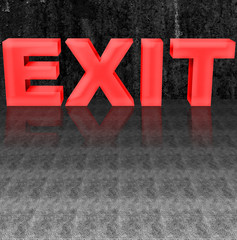 Bright Red Exit Sign, Isolated against an old dark weathered concrete wall.