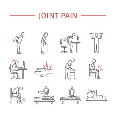 Joint pain. Line icons set. Vector signs