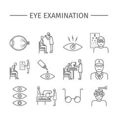 Eye Examination. Line icons set. Vector signs