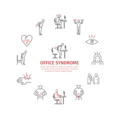 Office syndrome infographic. Line icons set.