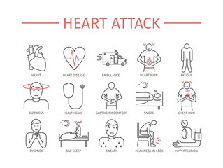 Heart Attack. Line icons set.
