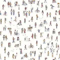 Seamless pattern of tiny people: pedestrians in the street, a diverse collection of small hand drawn men and women walking through the city