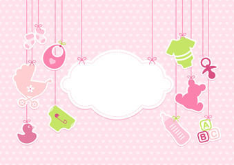 Card Baby Girl Symbols Hanging Cloud Hearts Pink