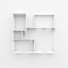 3d interior rendering of white empty home apartment