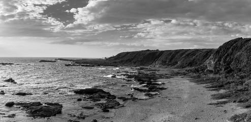 Black and white panorama of the sea shore from Jōgashima fisherman island in Japan