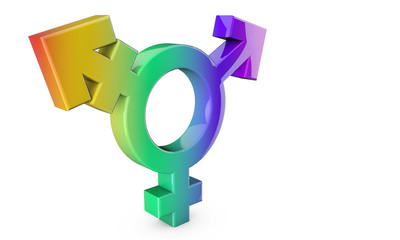 Transsexual symbol on a plain white background. 3D Rendering