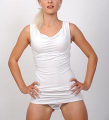 frau im weißen kleid bodypart sexy ellegant