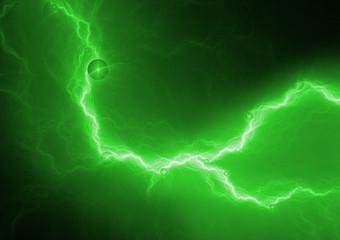 Green lightning bolt, abstract plasma background