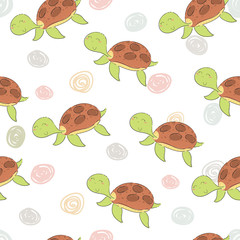 funny turtle print in cartoon style. pattern