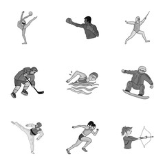 Olympic sports. Winter and summer sports. A set of pictures about athletes.Olympic sports icon in set collection on monochrome style vector symbol stock illustration.