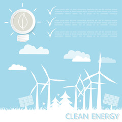 Clean energy concept windmills and solar panels. Template with space for text