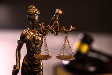 Lady Justiice. Books and Gavel.