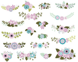 Floral design elements in mint and violet colors with flower bunches and laurels