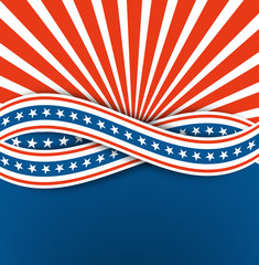 The us independence day.Abstract background.Blue and white ribbon with stars.vector eps10