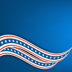 Blue background. Undulating ribbons the colors of the flag of the United States.