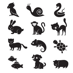 Pets and home animals vector icons