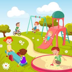 Cute children at playground. Happy children playing in summer park vector background