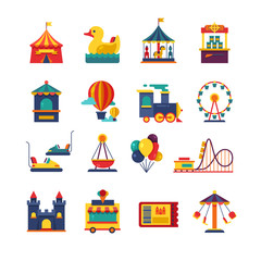 Fairground games and amusement park flat vector icons