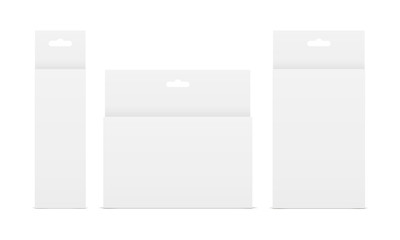 Set of white paper boxes with hang tabs - front view. Showcase your design ideas on this mockups. Vector illustartion