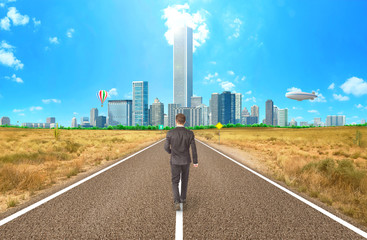 The concept of movement towards the goal. A man walks along a hot, deserted road to a green city.