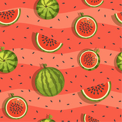 Cartoon pattern of watermelon and slices, Vector Seamless background