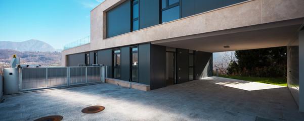 Entry in a modern villa, light blue sky