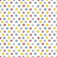 Calico watercolor forget me not pattern. Pretty seamless cute small flowers for fabric design. Calico pattern in country stile. Trendy handpainted millefleurs.