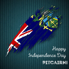 Pitcairn Independence Day Patriotic Design. Expressive Brush Stroke in National Flag Colors on dark striped background. Happy Independence Day Pitcairn Vector Greeting Card.