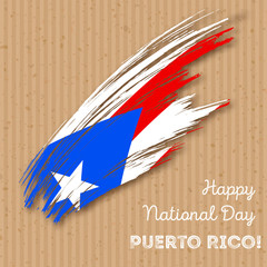 Puerto Rico Independence Day Patriotic Design. Expressive Brush Stroke in National Flag Colors on kraft paper background. Happy Independence Day Puerto Rico Vector Greeting Card.